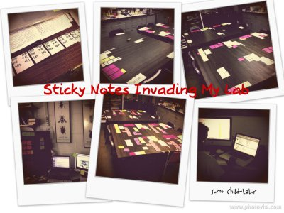 To organize all the symposia I went back to basics and used sticky notes. Top left shows me dividing up the P-IE, and bottom right shows my son entering info into ConFex.