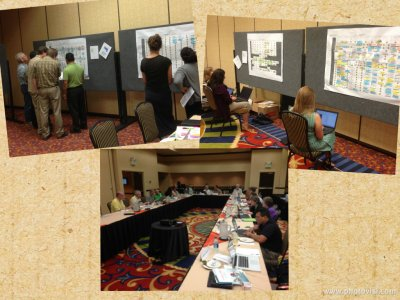 The Program Committee hard at work during the Summer Meeting. Top left - assigning symposia to rooms. Top right - ESA staff entering choices into ConFex. Bottom - sifting through all the submissions looking for duplicate entries, spelling mistakes, etc.